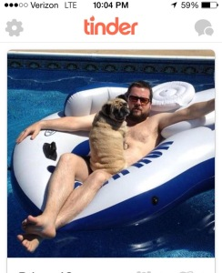 A man, his pool and his pug